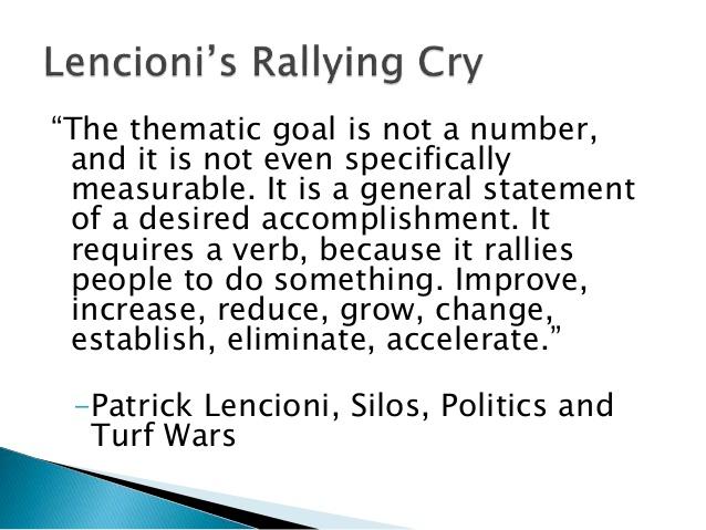 Lencioni's Rallying Cry